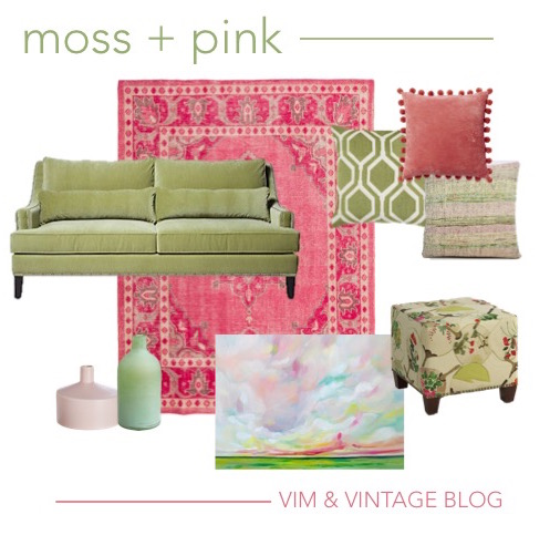 moss green and pink color story