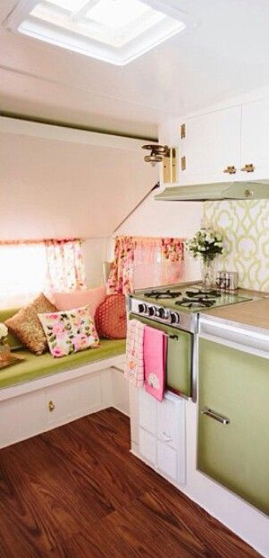 Pink and green camper design