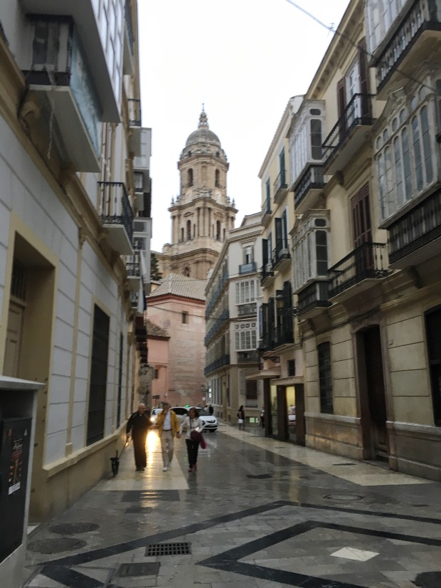 View of Cathedral from alley - Malaga, Spain