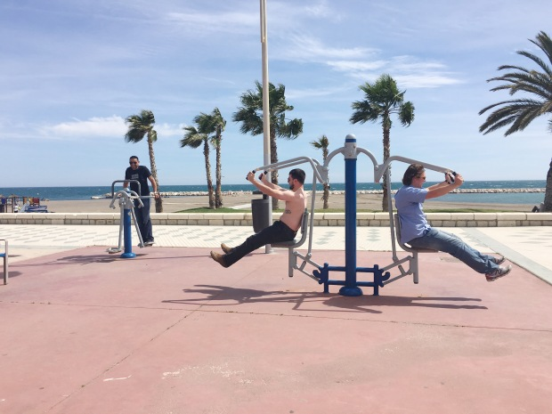 workout equipment at Malaga Beach